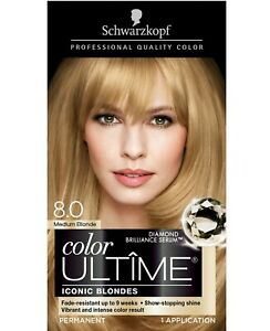 Schwarzkopf Color Ultime Permanent Hair Color Cream 8.0 Medium Blonde Anti-Brass