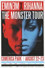 "EMINEM X RIHANNA MONSTER TOUR DETROIT CONCERT POSTER 11"" x 17"" signed by artist"