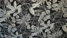 BLACK  AND WHITE FLORAL COTTON PRINT DRAPERY UPHOLSTERY FABRIC