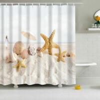 71x71/'/' Bathroom Waterproof Fabric Shower Curtain 12 Hooks Starfish Shell Pearl
