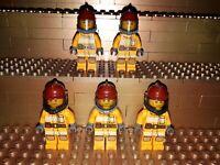 5 Lego City Feuerwehr Figuren Minifig Station Feuerwehrmann Firefighter Gelb