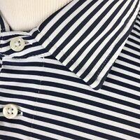 RLX Ralph Lauren Golf Polo Shirt Large Stretch Navy Blue White Striped S/S