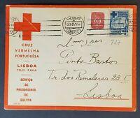 1944 Lisbon Portugal WWII Red Cross Prisoner of War Service Stamp Cover