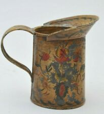 ANTIQUE TIN TOLE SMALL PAINTED PITCHER
