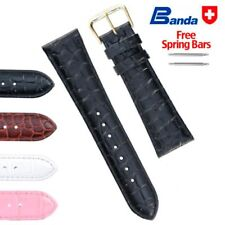 Banda Premium Grade Calfskin Crocodile Grain Leather Watch Bands, Sizes 8-22mm