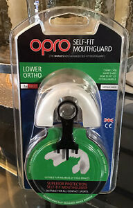 Opro Self Fit Mouthguard Lower Ortho 7+ - Adult Metalic White BRand New