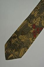 "Floral Olive ARMANI Silk Tie, HAND MADE IN ITALY. 3.2"" Wide 57"" L"