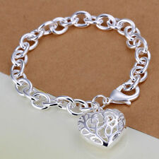 925 Sterling Silver Layered Womens Filigree Heart Charm Bracelet Bangle 8.0""