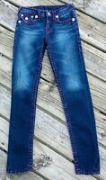 "True Religion Jeans Julie Super T Purple Stitches 12 7.5"" Rise 29"" Inseam Girls"