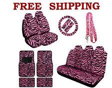 New Pink Zebra Print Seat Covers Steering Wheel Cover Floor Mats Lanyard Set