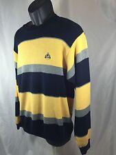 Izod  Men's M Cotton Sweater Blue Yellow Gray Stripe