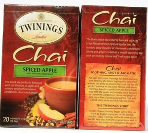 2Boxes Twinings Chai Spiced Apple 20 Individually Wrapped Tea Bags Per Box 1.4oz