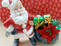 Vintage Mid Century Christmas Tree Santa Claus Bag o Gifts Assemblage Decoration