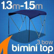 3 Bow 1.3m-1.5m Blue Boat Bimini Top Canopy Cover w/ Rear Poles & Sock