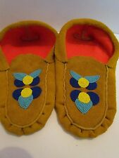 AUTHENTIC, NATIVE AMERICAN MOCCASINS Adult, 10 INCHES, UNISEX, BEADED,  GENUINE