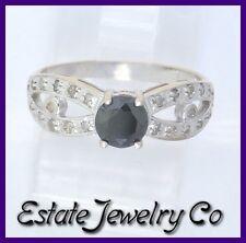 Diamond Engagement/Right Hand Ring .90ct 14k White Gold Black & White