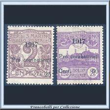 San Marino 1917 Pro combattenti Serie completa n. 51/52 Nuovi Integri **