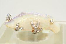 $12,350 15.65Ct Hand Carved Opal & Diamond Fish Design Ring 18K VVS