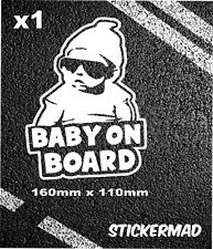 Baby On Board Safety Sticker Decal Expecting Mum Fully Contour cut white vinyl