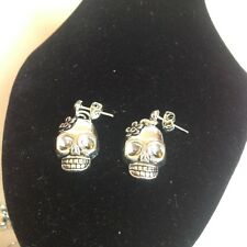 skull  stud earrings silver plated