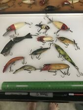 GROUP LOT OF 11 WOOD 2 GLASS EYES VINTAGE FISHING LURE LURES ANTIQUE OLD TACKLE