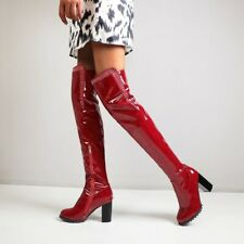 Women Rhinestones Patent Leather High Chunky Heel Over Knee Boots High Heel Shoe