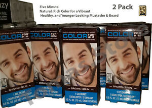 2x Brown For Him Mustache, Beard & Sideburns 5 Min. Brush In Color Gel