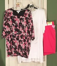 2 New CJ Banks Tops 3X 20W Blk/Hot Pink & White & Lee Riders 22W Shorts Necklace