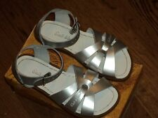 New Salt Water Sandals,original style, silver metallic leather, tod. 5,NIB