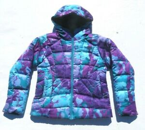 Women NORTH FACE Floral Hooded 600 Goose Down Snow Skirt Ski Snow Jacket Medium