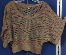 EUC Trendy WET SEAL Open Knit CROP TOP 100% acrylic Sz M Scoop Neckline SHORT Sl