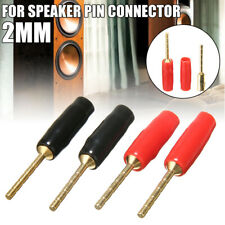 4x 2mm Speaker Pin Connector Banana Plug Screw Terminal Gold Plated Audio US