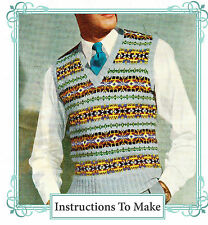 """Vintage 1940s fair isle mens pullover to knit,knitting pattern 4 ply,38-46"""" chst"""
