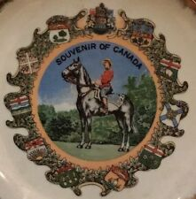 CANADA MOUNTY PLATE SOUVENIR PLATE PORCELAIN GOLD GILT MOUNTED POLICE VINTAGE 7""