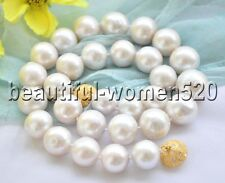 Z7279 HUGE 16mm WHITE ROUND Edison KESHI PEARL NECKLACE 18inch