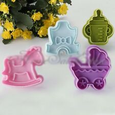 4PCS Lot Funny Baby DIY Toys Cookie Cake Cutter Fondant Plunger Decorating Mold