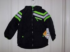 BIG CHILL BOYS BLACK & NEON LIME MID-WEIGHT JACKET WITH HOOD SIZE 4