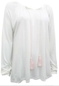NEW WHITE LONG SLEEVE TOP With TASSEL TIES JERSEY TOP  size Large 18/20