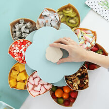 Flower Rotating Candy Box 2 Layer Dried Fruit Plate Snack Serving Tray Mint blue