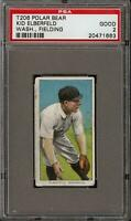 Rare 1909-11 T206 Kid Elberfeld Fielding Polar Bear Back Washington PSA 2 GD
