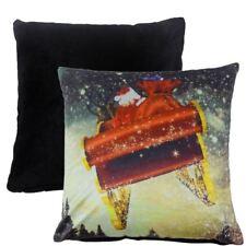 "FILLED CHRISTMAS SANTA PRESENTS SLEIGH REINDEER SOFT VELVET RED CUSHION 17"""
