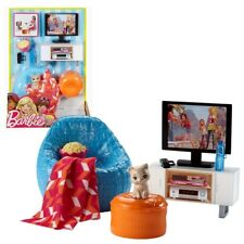 Barbie - Möbel Einrichtung Wohnzimmer - Fernsehecke, Sessel mit Zubehör