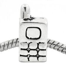 Cell Phone Cellular Mobile Telephone Bead for Silver European Charm Bracelets
