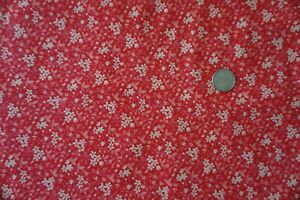 Cotton Fabric---Sold BTY---Pale Pink & Off White Tiny Flowers on Red Background