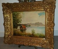 Altes Ölgemälde Ölbild Landschaft auf Holz Signiert Prunkrahmen