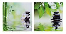 2er Set Wandbild Leinwandbild - Bambus Stein Orchideen Feng Shui Wellness - 40cm
