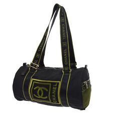 Auth CHANEL Sport Line CC Logos Mesh Shoulder Bag Black Khaki Nylon VTG G03004