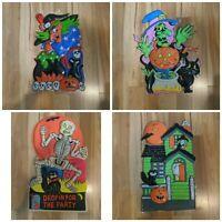 Vintage Lot of 4 Halloween Plastic Wall Door Decor Haunted House Ghost Pumpkin