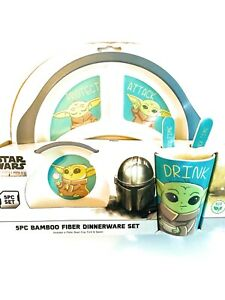 STAR WARS Bamboo Kids Dinner Set Mandalorian Baby Yoda Plate Utensils Cup Bowl
