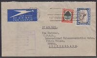 """South Africa 1954 cover airmail to Switzerland 1/- Kudu overprinted """"Official"""""""